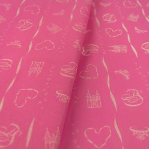 Χαρτί αφής ροζ με λευκά σχέδια