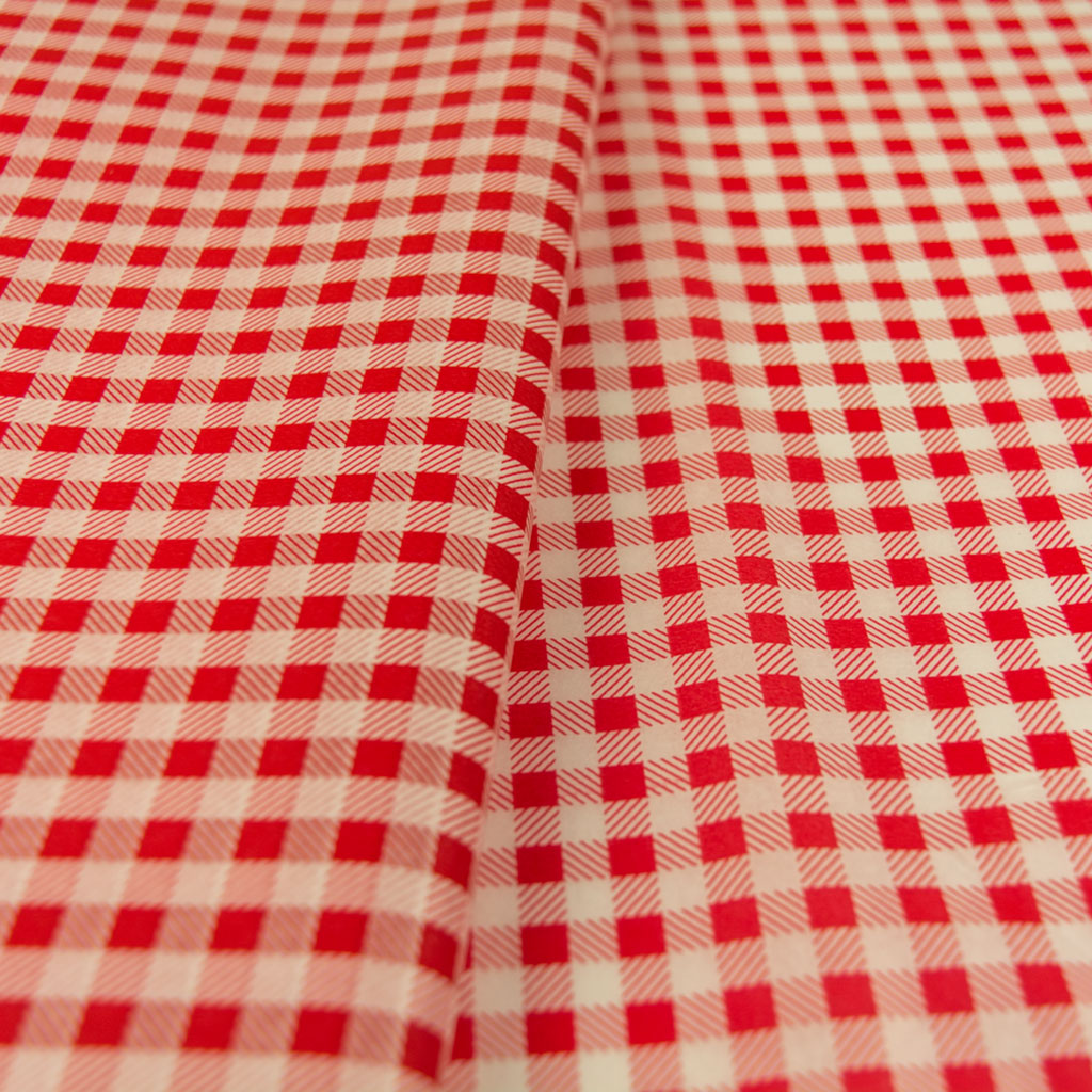 tissue paper white red plaid