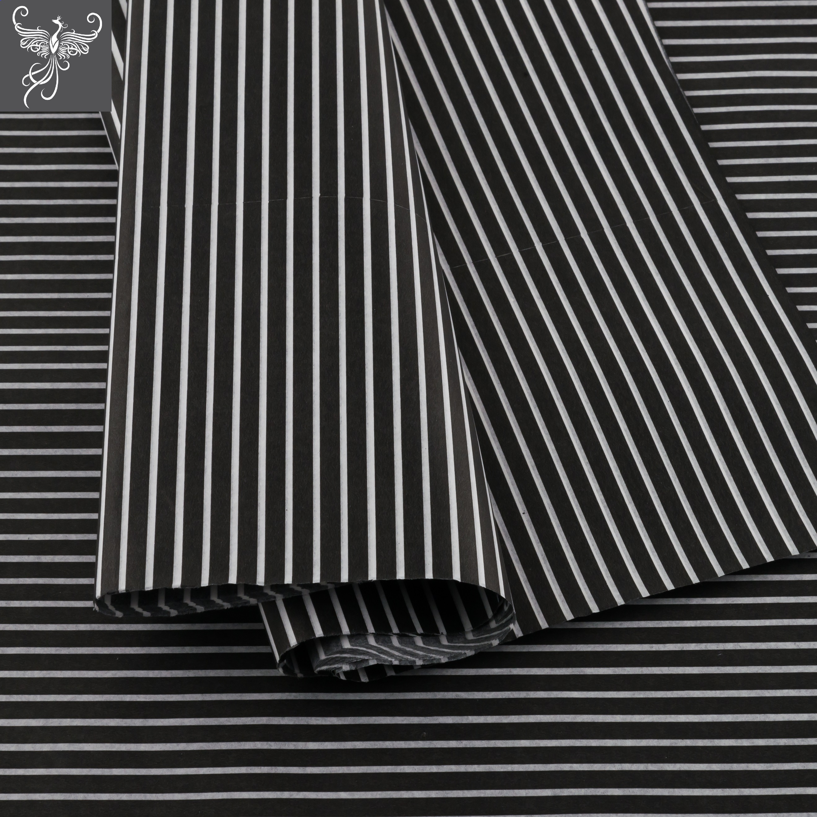 Tissue paper stripes black and white